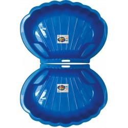 2x Muschel Sandkasten Planschbecken XL 108x79x18 blau + 25-tlg. Eimergarnitur