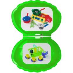 2x Muschel Sandkasten Planschbecken XL 108x79x18 grün + Picknick-Set 32-teilig